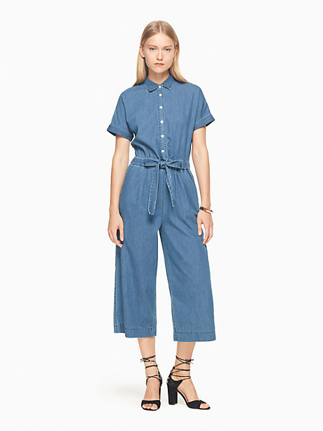 Kate Spade Chambray Jumpsuit, Medium Rinse - Size L