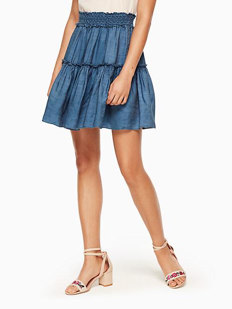 Kate Spade Chambray Smock Waist Skirt, Medium Indigo - Size L