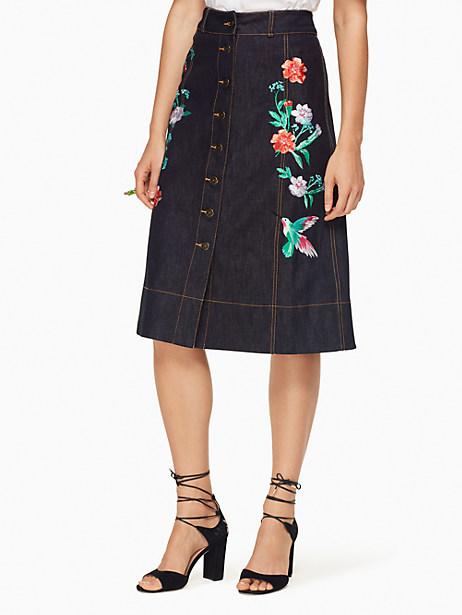Kate Spade Embellished Denim Skirt, Indigo - Size 0