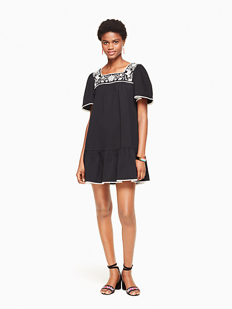 Kate Spade Embroidered Dress, Black - Size L