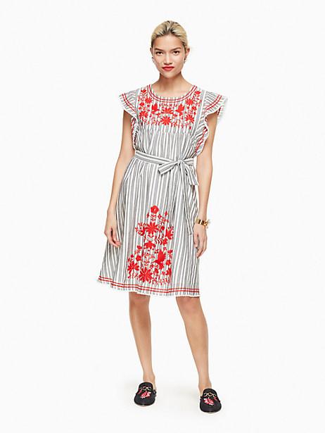Kate Spade Stripe Embroidered Babydoll Dress, Fresh White/Black - Size L
