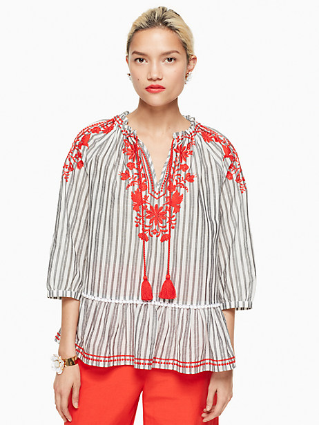 Kate Spade Stripe Embroidered Top, Fresh White/Black - Size L