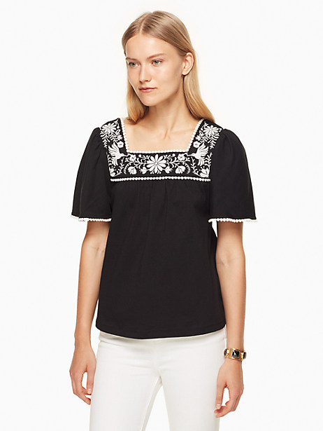 Kate Spade Embroidered Tee, Black - Size L