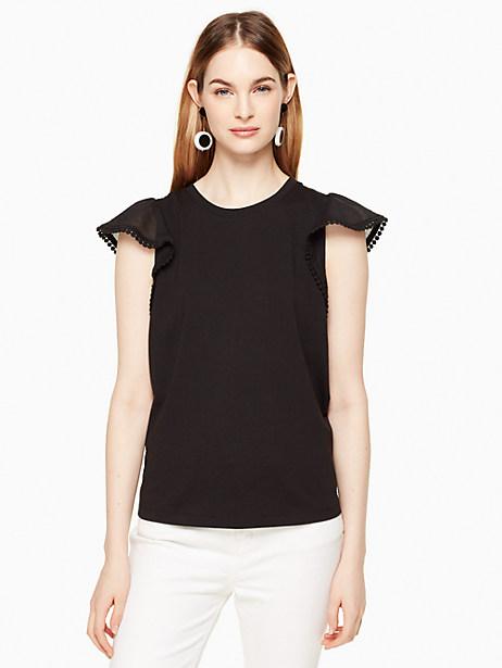 Kate Spade Flutter Sleeve Tee, Black - Size L