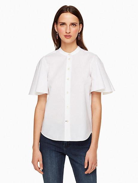 Kate Spade Poplin Flutter Sleeve Top, Fresh White - Size L