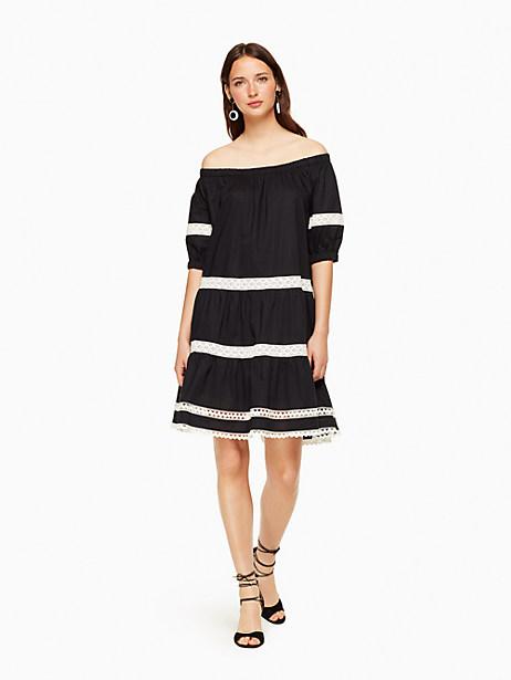 Kate Spade Poplin Off The Shoulder Dress, Black - Size L