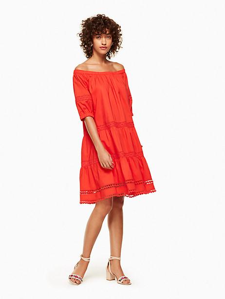 Kate Spade Poplin Off The Shoulder Dress, Cherry Pepper - Size L