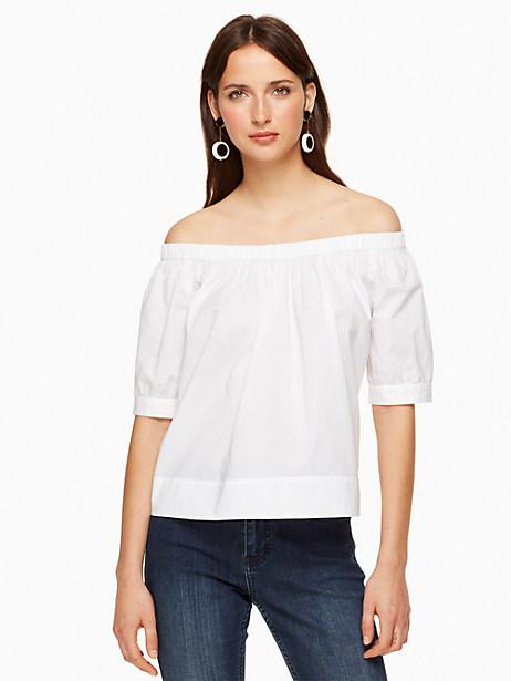 Kate Spade Poplin Off The Shoulder Top, Fresh White - Size L