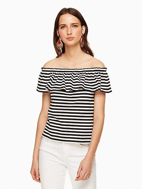 Kate Spade Stripe Off The Shoulder Tee, Off-White/Black - Size L