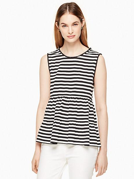Kate Spade Stripe Sleeveless Top, Off-White/Black - Size L