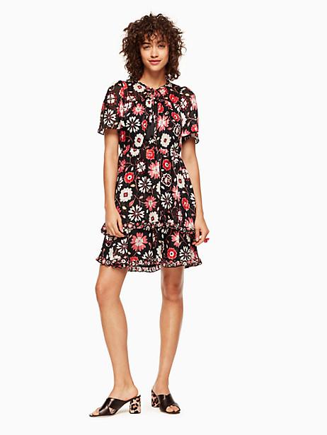 Kate Spade Casa Flora Flutter Sleeve Dress, Black - Size 2