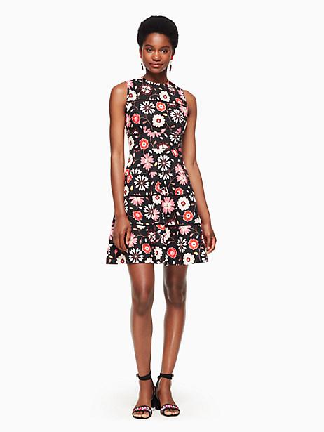 Kate Spade Casa Flora Poplin Dress, Black - Size 0