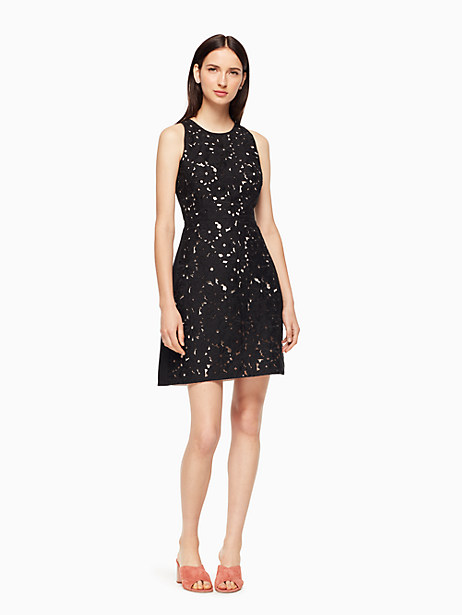 Kate Spade Floral Cutwork A-line Dress, Black - Size 00