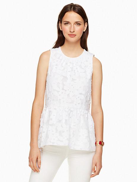 Kate Spade Floral Fil Coupe Top, Fresh White - Size L