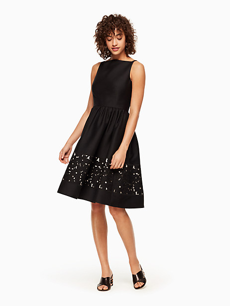 Kate Spade Lace Panel Fit And Flare Dress, Black - Size 16