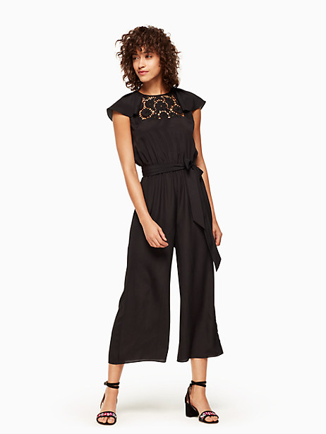 Kate Spade Lace Embroidered Jumpsuit, Black - Size XL