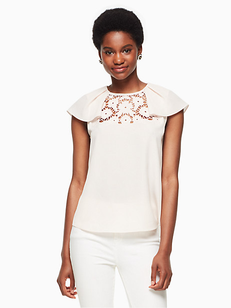 Kate Spade Lace Embroidered Top, Rose Dew - Size L