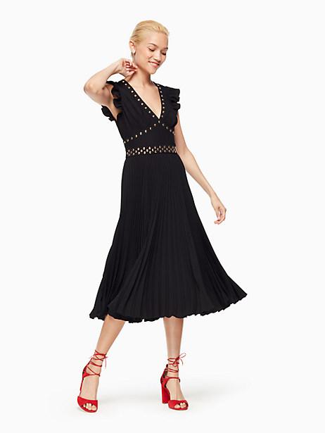Kate Spade Pleated Stud Crepe Dress, Black - Size 0