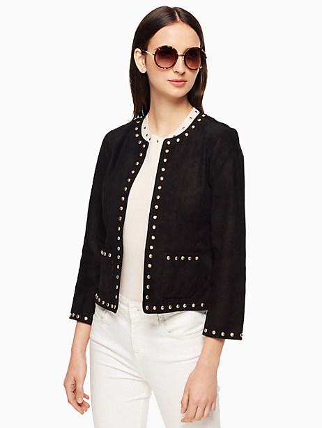 Studded Suede Jacket, Black - Size 12