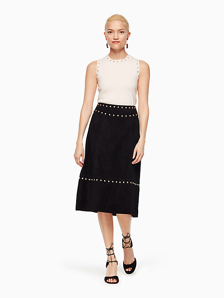 Kate Spade Studded Suede Skirt, Black - Size 0
