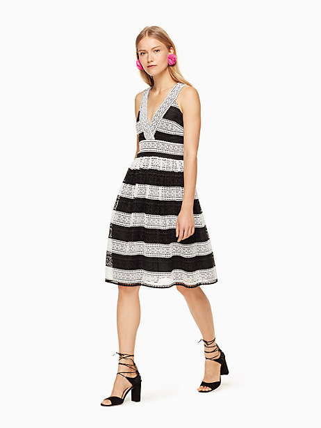 Kate Spade Colorblock Lace Dress, Black/Cream - Size 0