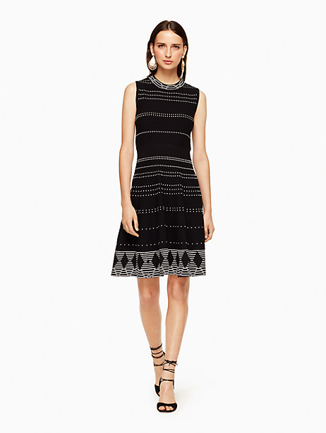 Kate Spade Textured Knit Fit And Flare Dress, Black/Cream - Size L