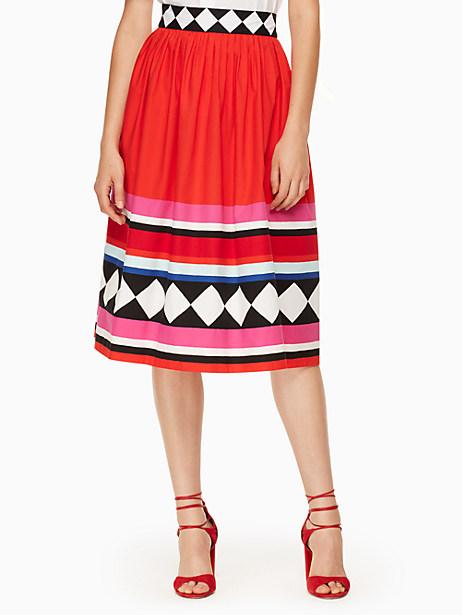 Kate Spade Geo Border Poplin Skirt, Size 0