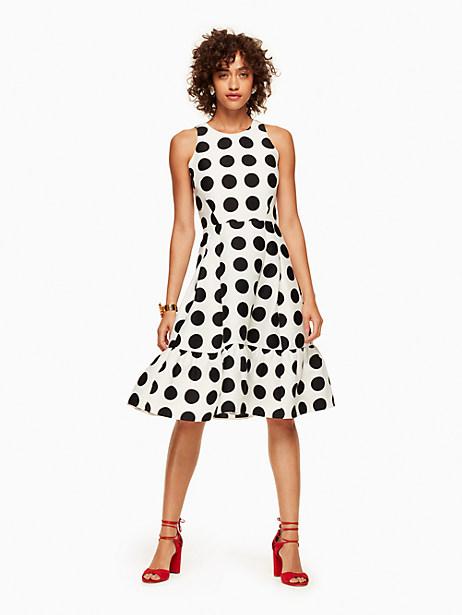 Kate Spade Grid Dot Flounce Dress, Cream/Black - Size 0