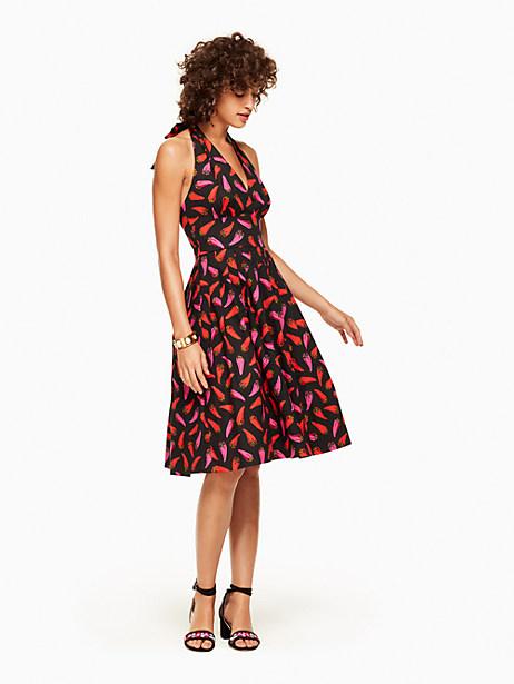 Kate Spade Hot Pepper Halter Dress, Black - Size 0