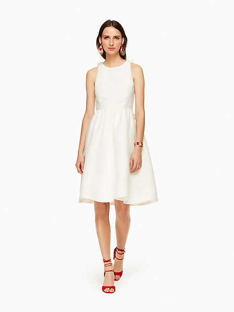 Kate Spade Bow Back Fit And Flare Dress, Cream - Size 0