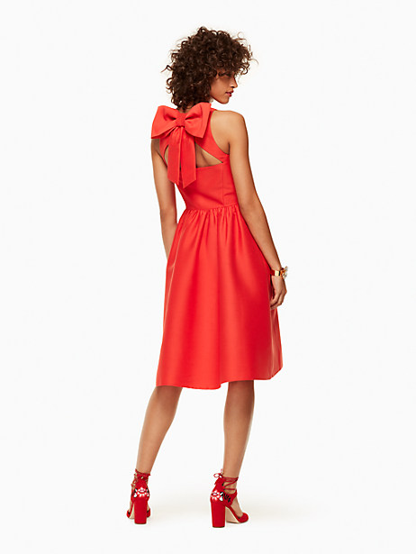 Kate Spade Bow Back Fit And Flare Dress, Cherry Pepper - Size 0
