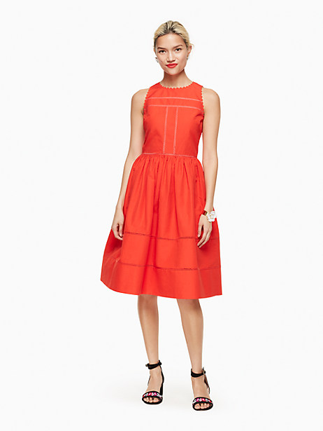 Kate Spade Lace Inset Fit And Flare Dress, Cherry Pepper - Size 0