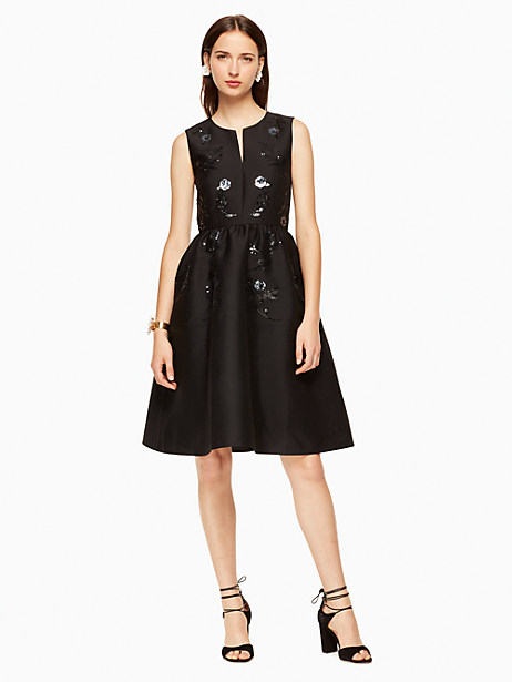 Kate Spade Floral Embellished Dress, Black - Size 0