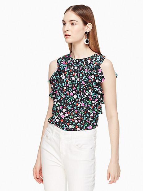 Kate Spade Greenhouse Ruffle Silk Top, Black - Size L
