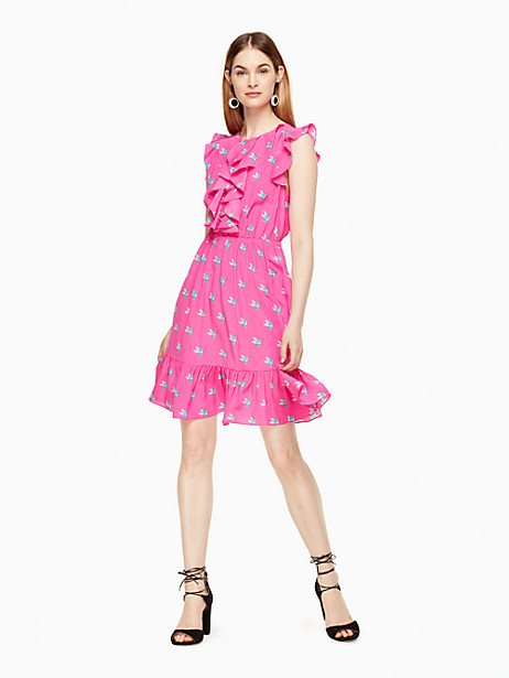 Kate Spade Hummingbird Ruffle Dress, Bougainvillea - Size 0