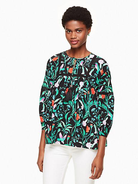 Kate Spade Jardin Lace Inset Top, Black - Size L