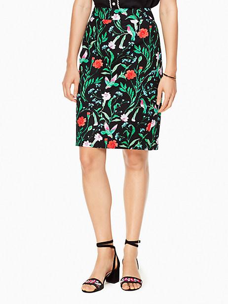 Kate Spade Jardin Tile Jacquard Pencil Skirt, Black - Size 0