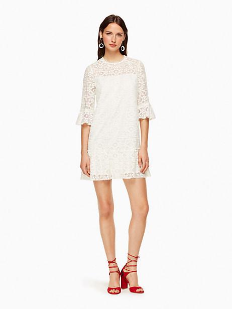 Kate Spade Lace Flounce Shift Dress, Fresh White - Size 4