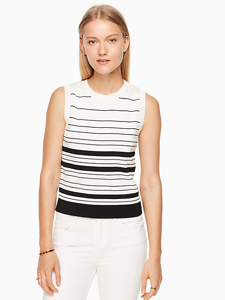 Kate Spade Textured Sleeveless Sweater, Fresh White/Black - Size L