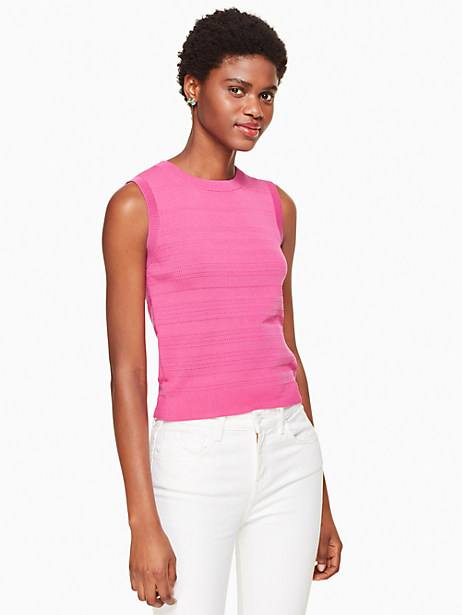 Kate Spade Textured Sleeveless Sweater, Bougainvillea - Size L