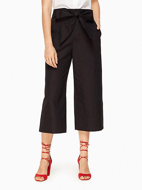 Kate Spade Slub Cotton Culotte, Black - Size 0
