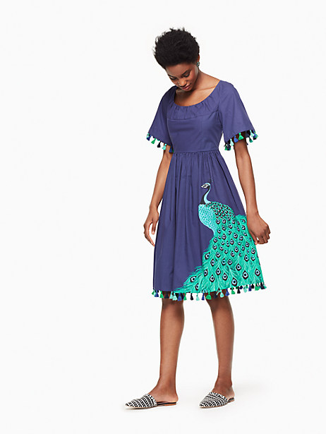 Kate Spade Plume Poplin Dress, Deep Sea - Size 0