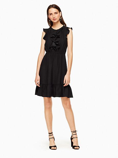 Kate Spade Crepe Ruffle Dress, Black - Size 0