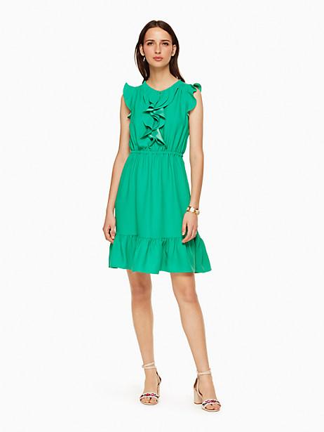 Kate Spade Crepe Ruffle Dress, Beryl Green - Size 0
