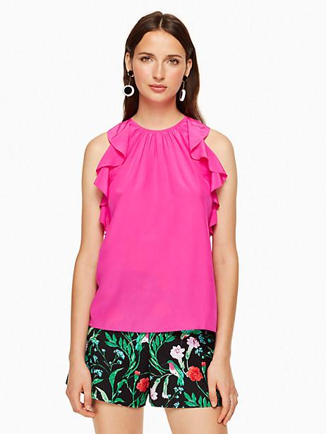 Kate Spade Sleeveless Ruffle Silk Top, Bougainvillea - Size L