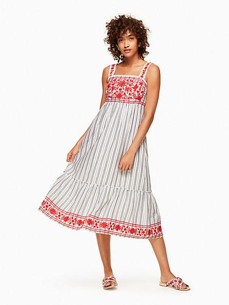Kate Spade Stripe Embroidered Midi Dress, Fresh White/Black - Size L