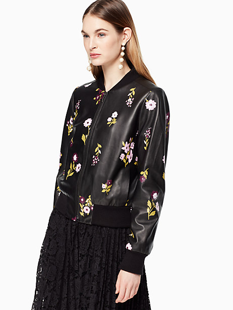 In Bloom Leather Bomber Jacket, Black - Size M