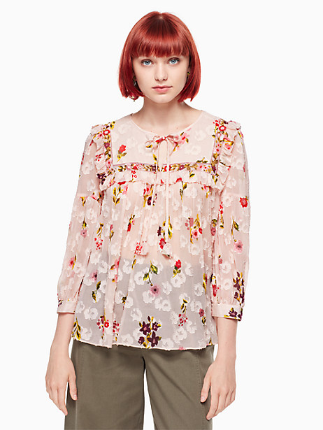 Kate Spade In Bloom Chiffon Top, Rose Dew - Size M