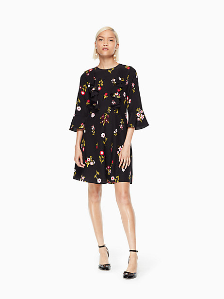 Kate Spade In Bloom Ruffle Dress, Black - Size 0