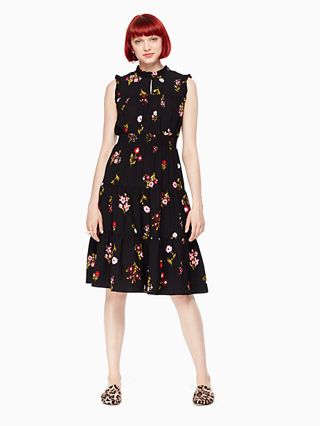 Kate Spade In Bloom Smocked Waist Dress, Black - Size L